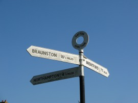 Signpost at Gayton Junction