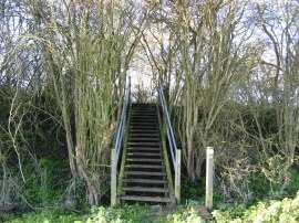 Steps up to the railway embankment