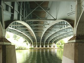 Underneath the M4 road bridge