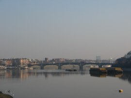 View down to Battersea Bridge