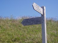 Coast path sign at Trevone