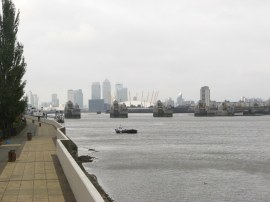 View back towards the Thames Barrier