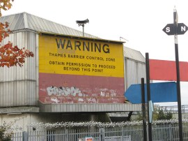 Thames Barrier warning sign