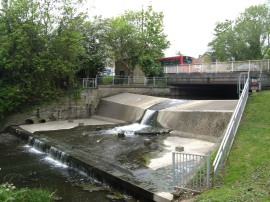 Hendon Lane Road Bridge and Weir